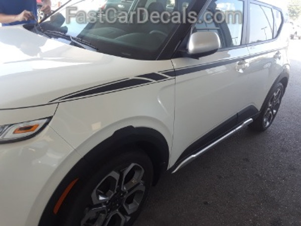 front of white 2020 Kia Soul Side Decals OVERSOUL