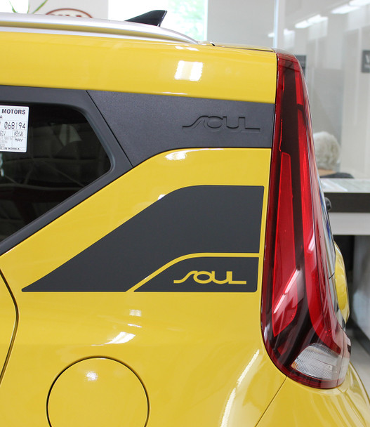 side of yellow 2020 Kia Soul Graphics SOULPATCH 20 NEW Fast Car Designs!