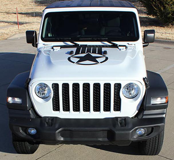 front of ALPHA STAR HOOD : 2021-2020 Jeep Gladiator / Wrangler Hood Stripes