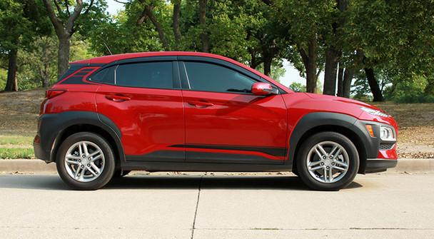 profile of  red Hyundai Kona Stripes SPIRE KIT 2020-2021 Premium Products!
