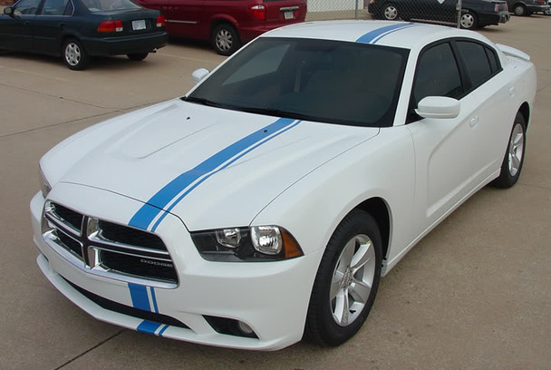 front angle of 2013 Dodge Charger Euro Stripes E RALLY 2011 2012 2013 2014 Call 812-725-1410