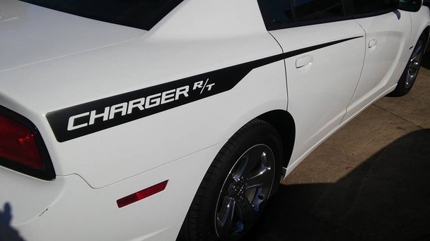 close up angle of 2012 Dodge Charger Stripe Decals RECHARGE 2011 2012 2013 2014