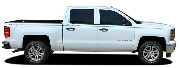 profile of white Chevy Silverado Upper Body Graphics ELITE 2013-2016 2017 2018