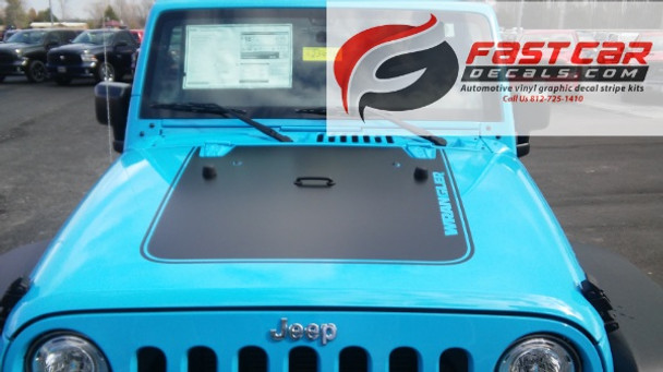 front of blue 2017 Jeep Wrangler Hood Stripe OUTFITTER HOOD 2008-2017