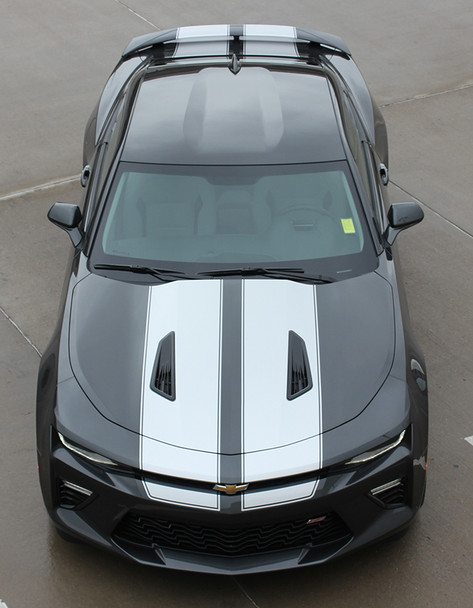 front high view 2017 Chevy Camaro Racing Stripes 3M CAM SPORT PIN 2016-2018