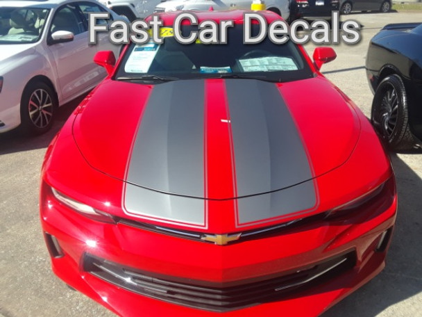 front of red Camaro Racing Stripes CAM SPORT PIN 2016 2017 2018