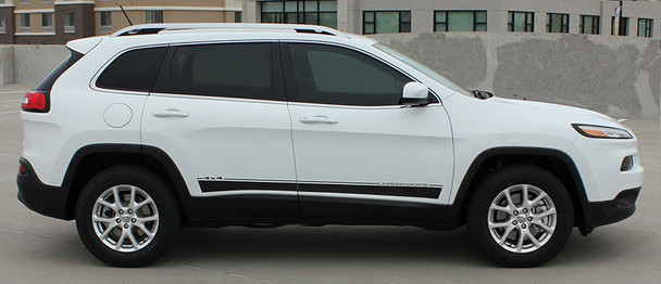 side of white Jeep Cherokee Lower Side Decals BRAVE 2014-2016 2017 2018 2019