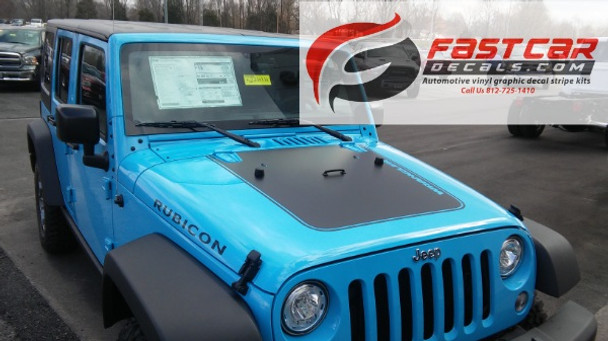 side of blue 2016 Jeep Wrangler Hood Decals OUTFITTER 2008-2015 2016 2017