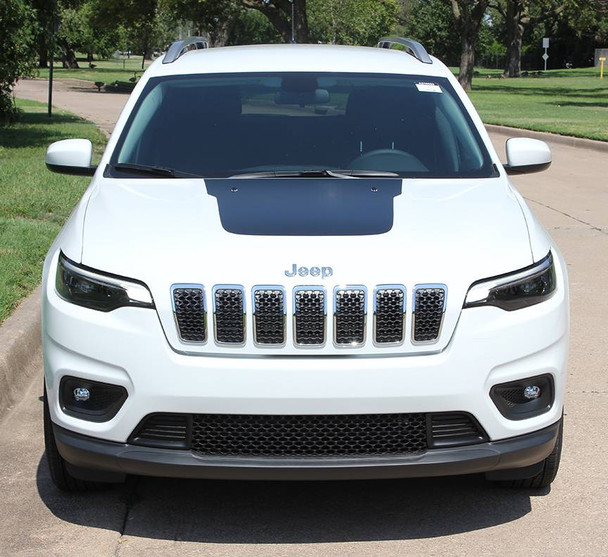 front of 2018 Jeep Cherokee Trailhawk Hood Decals T-HAWK 2014-2018 2019 | FCD