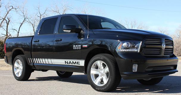 side angle of black Dodge Ram Decals Stripes RAM ROCKER STROBE 3M 2009-2017 2018