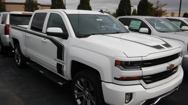 side of white NEW Style! 1500 Chevy Silverado Special Ops Stripes 2016-2018