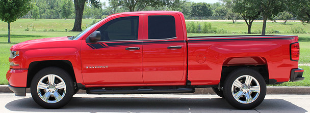 profile view of Chevy Silverado Vinyl Wrap Stripe BREAKER 2014 2015 2016 2017 2018 2019 Call Us 812-725-1410