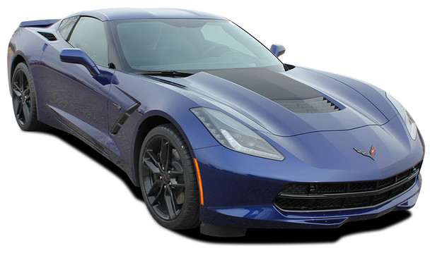 front angle of Chevy Corvette hood stripe C7 HOOD 2014-2018 | FastCarDecals