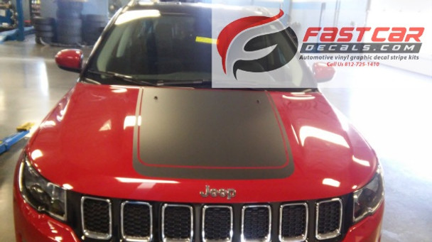 front of red 2019 Jeep Compass Hood Decal BEARING HOOD 2017-2020