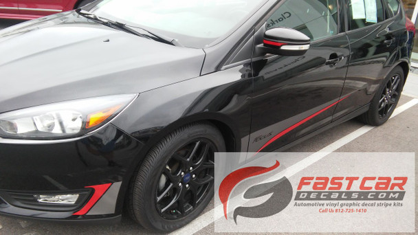 front angle of black BEST! Ford Focus Vinyl Graphics BLADE 2015 2016 2017 2018