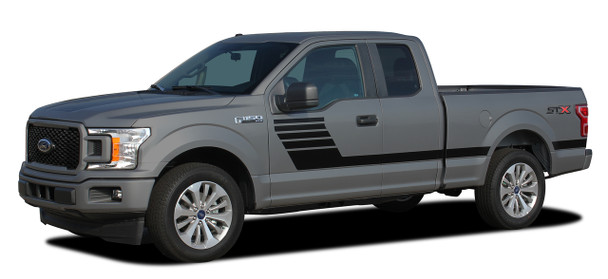 side of 2018 Ford F-150 Side Stripes Decals LEAD FOOT 2015-2018 2019