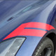 close up of blue 2018 Chevy Corvette Fender Stripes HASHMARK 2014-2019