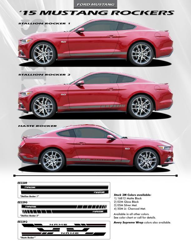 2018 Mustang Side Vinyl Graphics STALLION ROCKER 1 or 2 2015-2019