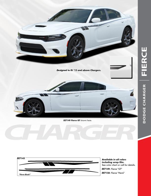2019 Dodge Charger Side Door Vinyl Graphics FIERCE 2015-2020 2021