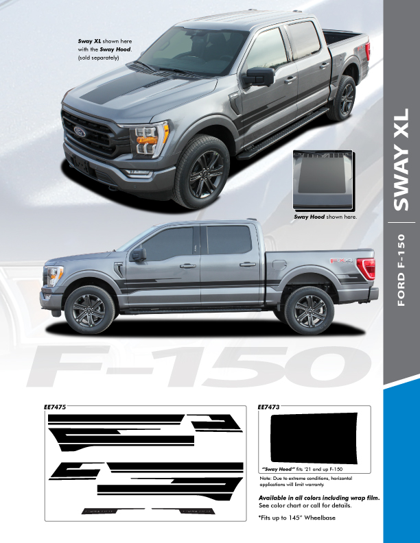 2021 Ford F150 Truck Hood Stripes Package SWAY HOOD for 2021+