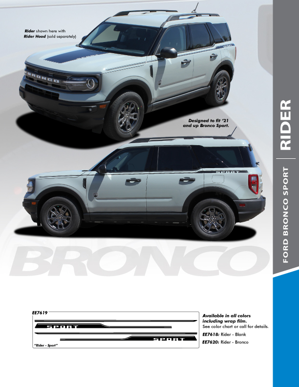 NEW 2021 Ford Bronco Stripes RIDER SIDE 2021 and up All Models
