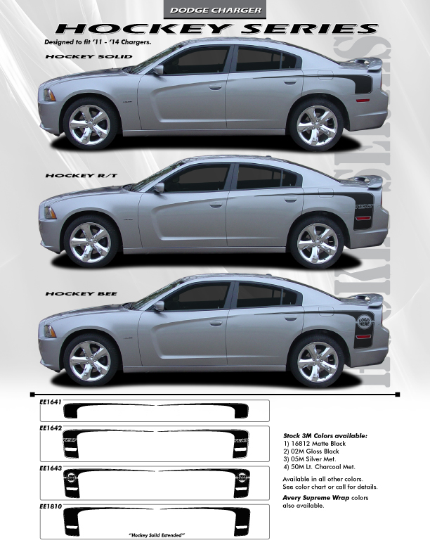 Dodge Charger hockey Decals 2011-2014