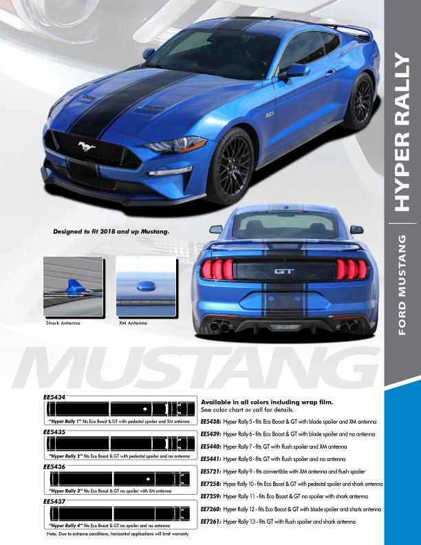 HYPER RALLY   2021 2020 2019 2018 Ford Mustang Center Matte Black Stripes