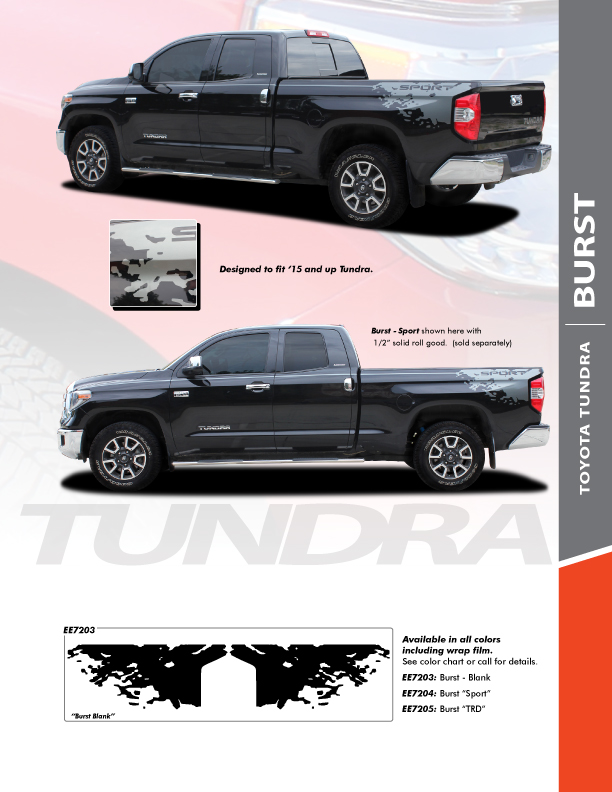 NEW! 2015-2021 Toyota Tundra Side Stripes BURST