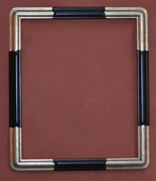 "FMOO107  -  C2323 - Hand Carved Frame with Black Arms & 12 Karat Genuine Gold Leafed Corners - 2"" Wide Moulding  Art size : 20""  X  24""  Frame outside dimension : 23 1/2""  X 27 1/2"""