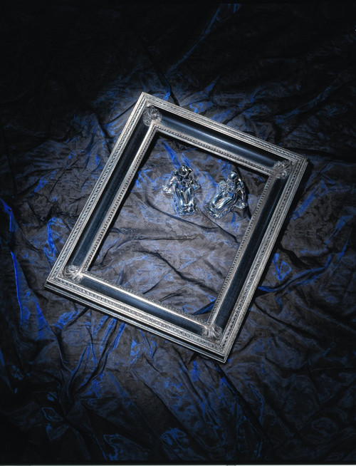 """FM 414 - Silver Metal Leaf F Tone Show Black F Panel, 2 7/8"""" Width X  1 3/4"""" Hight  The Frame in this Image is 12""""  x  16"""" (Art Size)"""