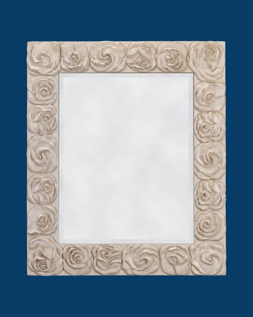 "FM 4014 - Antique White Frame with Beveled Mirror  Glass (Mirror) Size : 16""  x  20""  Frame Outsie Simension: 22""  x  26"""