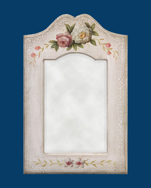 "FM 1502 - Antique White Frame with Hand Painted Flower Pattern & Beveled Mirro.  Glass (Mirror) Size : 10 1/2""  x  17""  Frame Outsie Simension: 17 3/4""  x  27 1/4"""