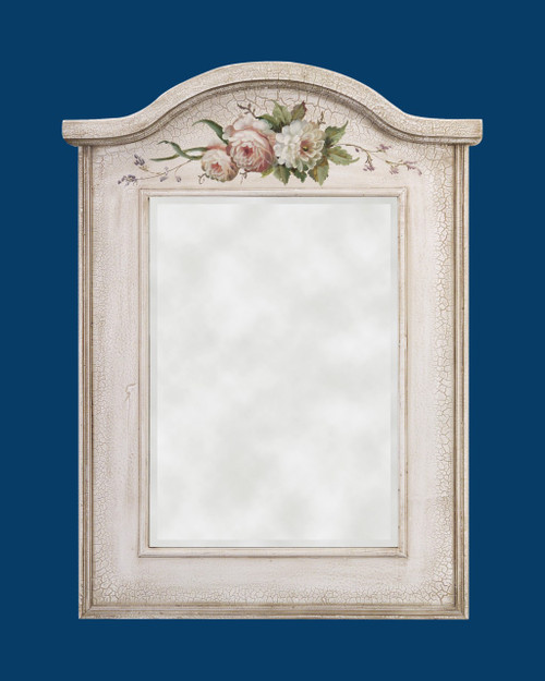"FM 1506 - Antique White Frame with Hand Painted Flower Pattern & Beveled Mirro.  Glass (Mirror) Size : 14""  x  19 3/4""  Frame Outsie Simension: 23 1/2""  x  31 1/4"""