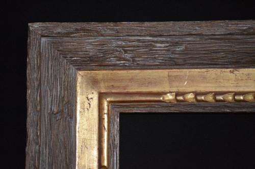 "C - Sima - Hand Carved, Plein Air, 22 Karat Genuine Gold leaf & Dark Driffet Wood  Moulding Width 4""  X   2"" Hight  Rabbet Size: 7/16""  Hight  x  3/8"" Width"