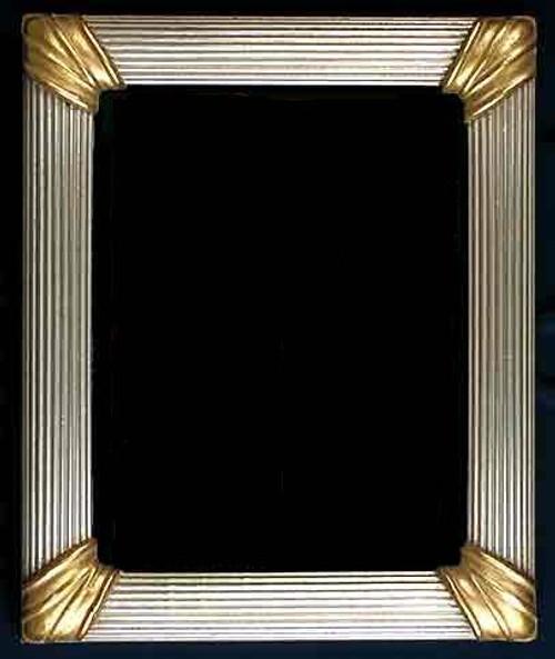 "FM 368 - Silver Metal leaf & Gold Corners, 2"" Width X  2 1/8"" Hight  Rabbet Size: 1 3/8"" Hight X 3/8"" Wide"