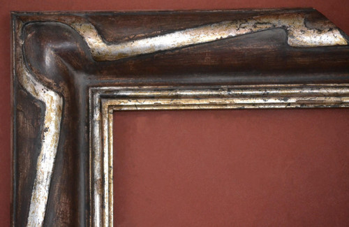 """C - 1922 - Hand Carved, Plein Air, Genuine Silver Leaf & Sangria Stain  Moulding Width 5""""  X  1 3/4"""" Hight  Rabbet Size: 7/16""""  Hight  x  1/2"""" Width"""