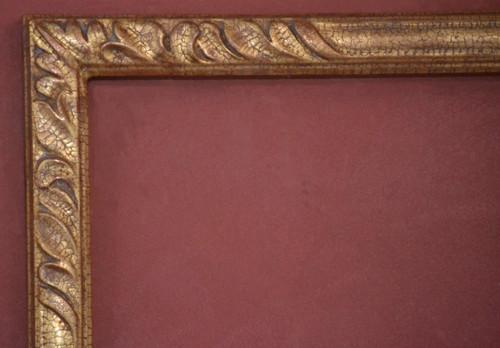 "C - 7083 - Hand Carved, Plein Air, Crackle 22 Karat Genuine Gold Leaf  Moulding Width 2 1/16""  X  1 7/8"" Hight  Rabbet Size: 1 1/8""  Hight  x  5/16"" Width"