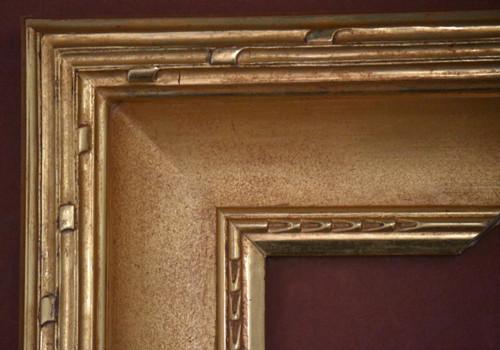 "C - 9195 - Hand Carved, Plein Air, 22 Karat Genuine Gold Leaf  Moulding Width 5""  X  2"" Hight  Rabbet Size: 3/8""  Hight  x  1/4"" Width"