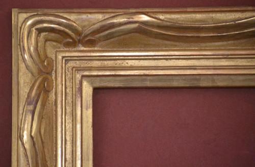 "C - 9459 - Hand Carved, Plein Air, 22 Karat Genuine Gold Leaf  Moulding Width 4 1/4""  X  1 3/4"" Hight  Rabbet Size: 3/8""  Hight  x  3/8"" Width"