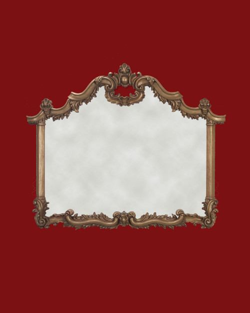 """Hand Carved Frame Gold Metal Leaf - 2"""" Wide Moulding ( narrowest part )  Art or Mirror size : 35 1/2"""" Wide  X  29 3/8 """" Height - Mirror not included  Frame Outside Dimension: 42 1/2"""" Wide  x  34 1/2"""" Hight"""