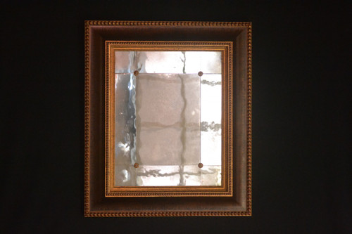 "Antiqued Panel Mirror with Rosette - Moulding Width : 4 1/4""  Mirror size : 15""  x  19"" Visible  Frame Outside Dimension:  23 3/4""  X  27 3/4"""