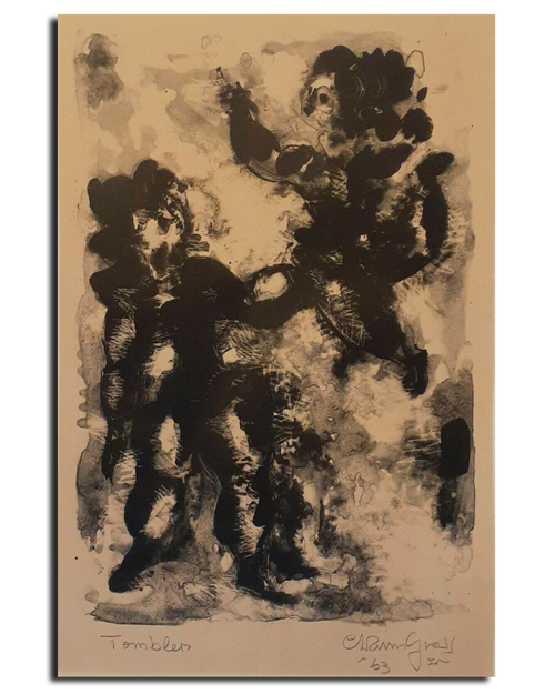 "Chaim Gross Lithograph - ""Tomblers"" Signed and Dated 14 1/2"" X 9 1/2"""