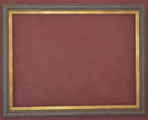 FMOO38 Rustic Wood  Frame with Gold Leaf Fillet & Clear Mirror