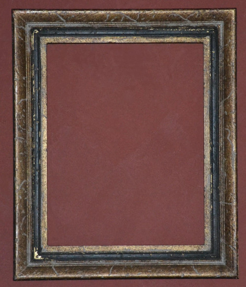 """FM OO73 - Gold Metal Leaf With Heavy Distressing & Antique Blck Panel - 2 1/2"""" Wide Moulding  Art size : 11""""  X  14""""  Frame outside dimension : 15""""  X 18"""""""