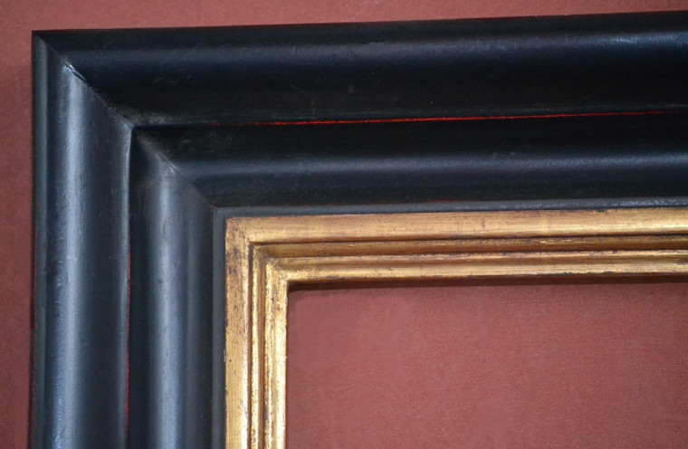 "C - 577  Plein Air, 22 Karat Genuine Gold leaf & Black Lacquer  Moulding Width 3 1/2""  X   1 3/4"" Hight  Rabbet Hight : 1/2""  X  3/8"" Width"