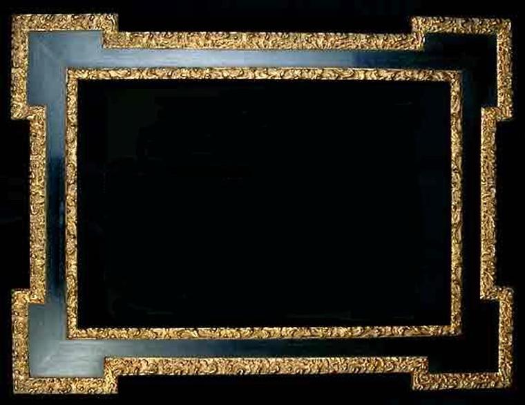 """FM 554 - Silver Metal Leaf F Tone, Black F Panel, 6 1/4"""" Width X  1 1/4"""" Hight"""