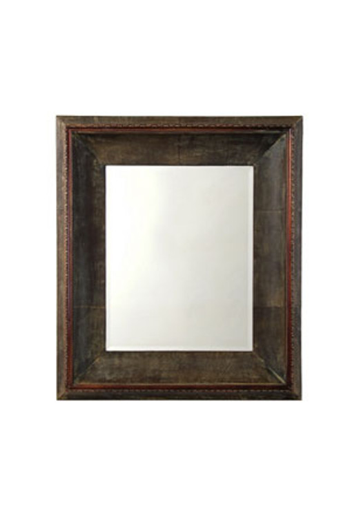 """Faux Leather Frame with Beveled Mirror - Moulding Width : 8""""  Mirror size : 23""""  X  29"""" Visible  Frame Outside Dimension: 38 1/4""""  X  44 1/4"""""""