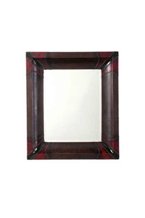 """Faux Leather Frame with Beveled Mirror - Moulding Width : 7""""  Mirror size : 23 1/4""""  X  29 1/4"""" Visible  Frame Outside Dimension: 36 1/2""""  X  42 1/2"""""""