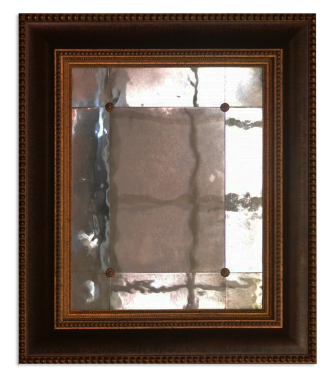 Antiqued Panel Mirror with Rosette