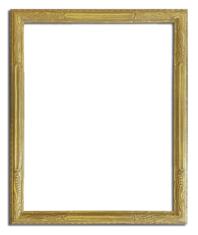 """2 3/8"""" Wide 26"""" x 32 1/4"""" Hand Carved Picture Frame Gilded In Genuine 22k Gold"""